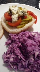 Homemade purple slaw and burger toppings
