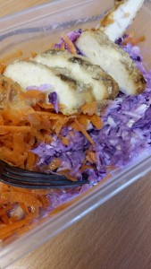 Purple slaw carrot and chicken