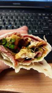 Chicken and pastrami wrap