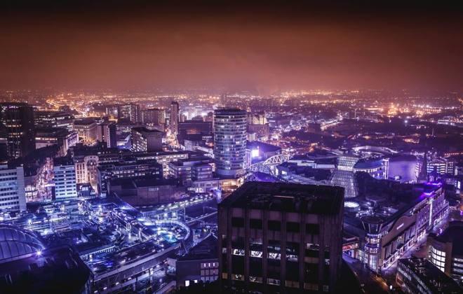 Birmingham skyline at night