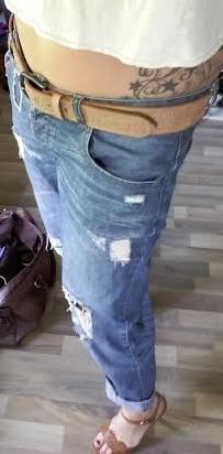 Boyfriend jeans and tan heels