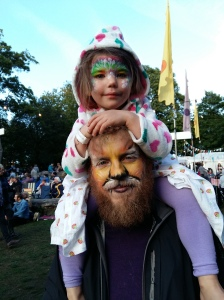 Face painted Dad and Daughter