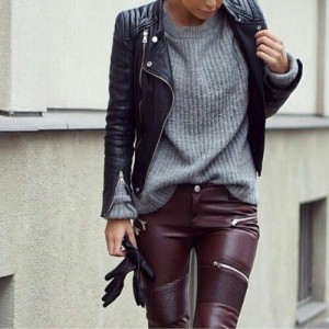 Black leather grey jumper wine trousers