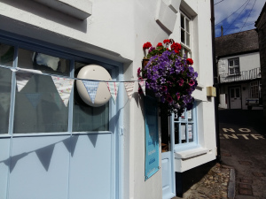 Bunting and flowers Polperro