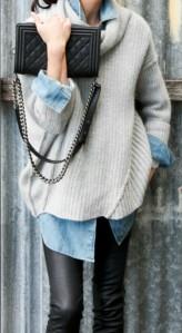 Grey jumper and denim shirt