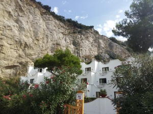 Hotel and cliff face