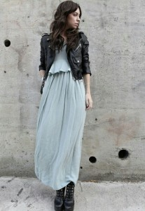 Leather and maxi dress