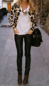 Leopard print and coated denim