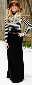 Stripes and maxi skirt