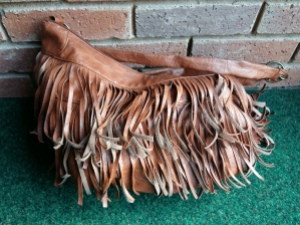 Tan fringed bag