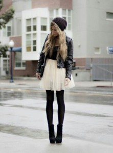 Beanie leather jacket nude tulle skirt opaque tights ankle boots