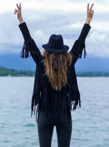 Black fringed suede jacket black fedora skinny jeans