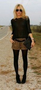 Fine kinit jumper tweed shorts black opaque tights black ankle boots
