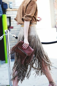 Fringed suede skirt fringed clutch bag