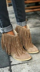 Fringed western suede beige ankle boots