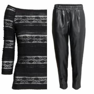 H&M black lace top black pleather faux leather peg leg trousers