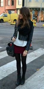 Leather jacket chunky scarf burgundy mini skirt opaque tights ankle boots