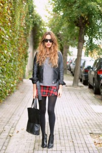 Leather jacket grey top tartan mini skirt opaque tights ankle boots