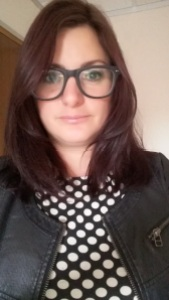Me in spotty dress and leather jacket