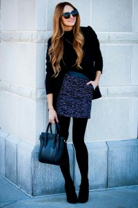 Mini skirt black opaque tights
