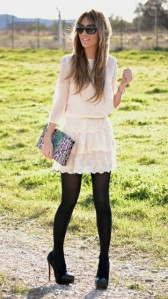 Nude boho dress opaque tights