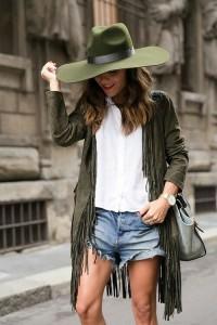 Olive green fedora fringed jacket cut off denim shorts