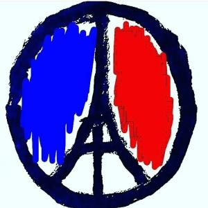 Pray for Paris peace sign eiffel tower