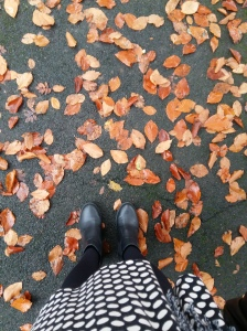 Spotty dress opaque tights ASOS ankle boots