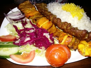 Saba persian restaurant skewer grill chicked and lamb