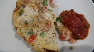 Breakfast omelette and salsa