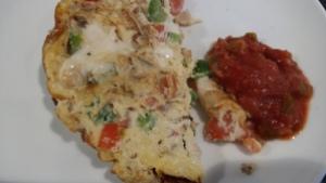 Breakfast omelette and salsa