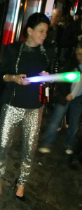 Me in silver sequin trousers NYE