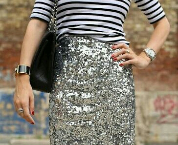 Sequin skirt and stripes