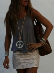 Sequin skirt baggy tank top