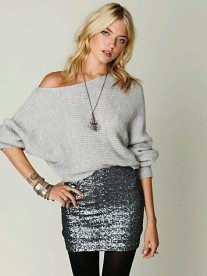 Sequin skirt cosy jumper