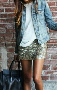 Sequin skirt denim jacket
