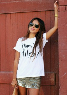 Sequin skirt printed tee