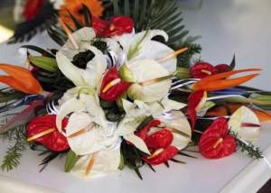 Wedding bouquet lily birds of paradise