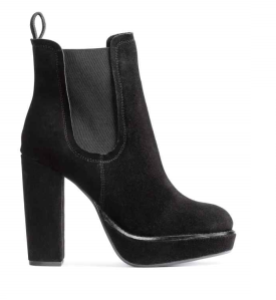 H&M black suede platform boots