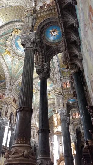 Looking up inside Basilica de Notre Dame Lyon