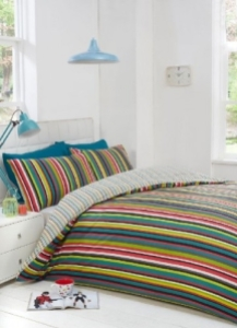 Yorkshire Linen bright stripe duvet cover