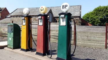 Old fashioned petrol pumps Black Country Museum