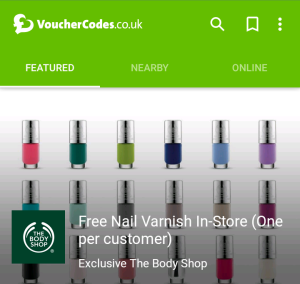 Free Body Shop nail varnish Vouchercodes