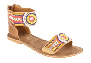 Peacocks beaded ethnic ankle strap sandals
