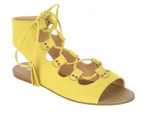 Peacocks yellow lace up sandals