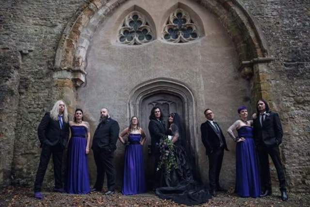 purple-and-black-gothic-wedding-party-group-shot