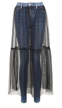 Topshop skirt overlay jeans