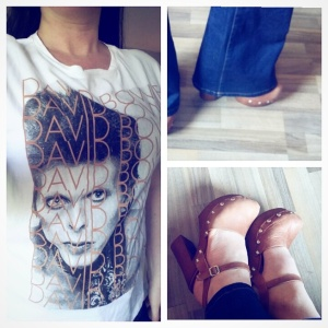 David Bowie tshirt flared jeans and clogs
