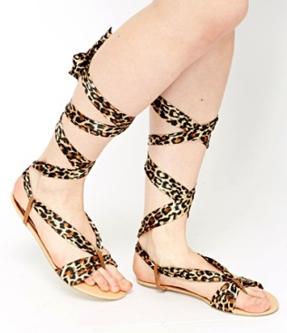 Everything 5 pounds leopard print leg tie sandals 2