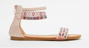 Everything 5 Pounds pink aztec ankle strap sandals 2